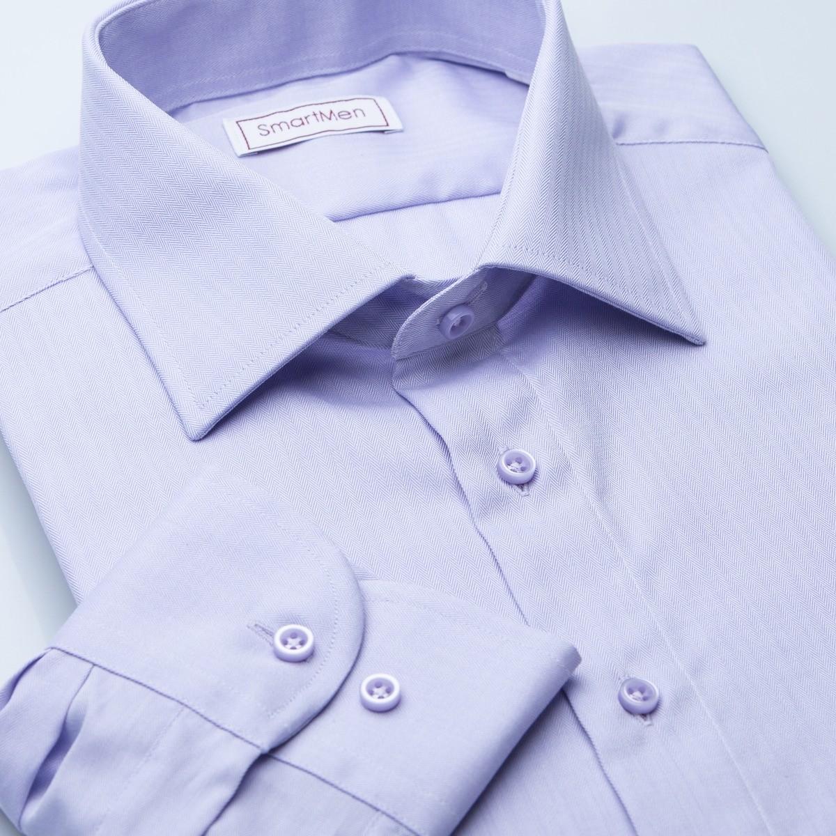 d3159fd11d37 Pánska spoločenská košeľa fialová jednofarebná Herringbone