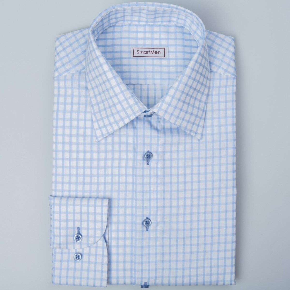 252b8cc5c8bf Business Casual pánska košeľa modrá kockovaná