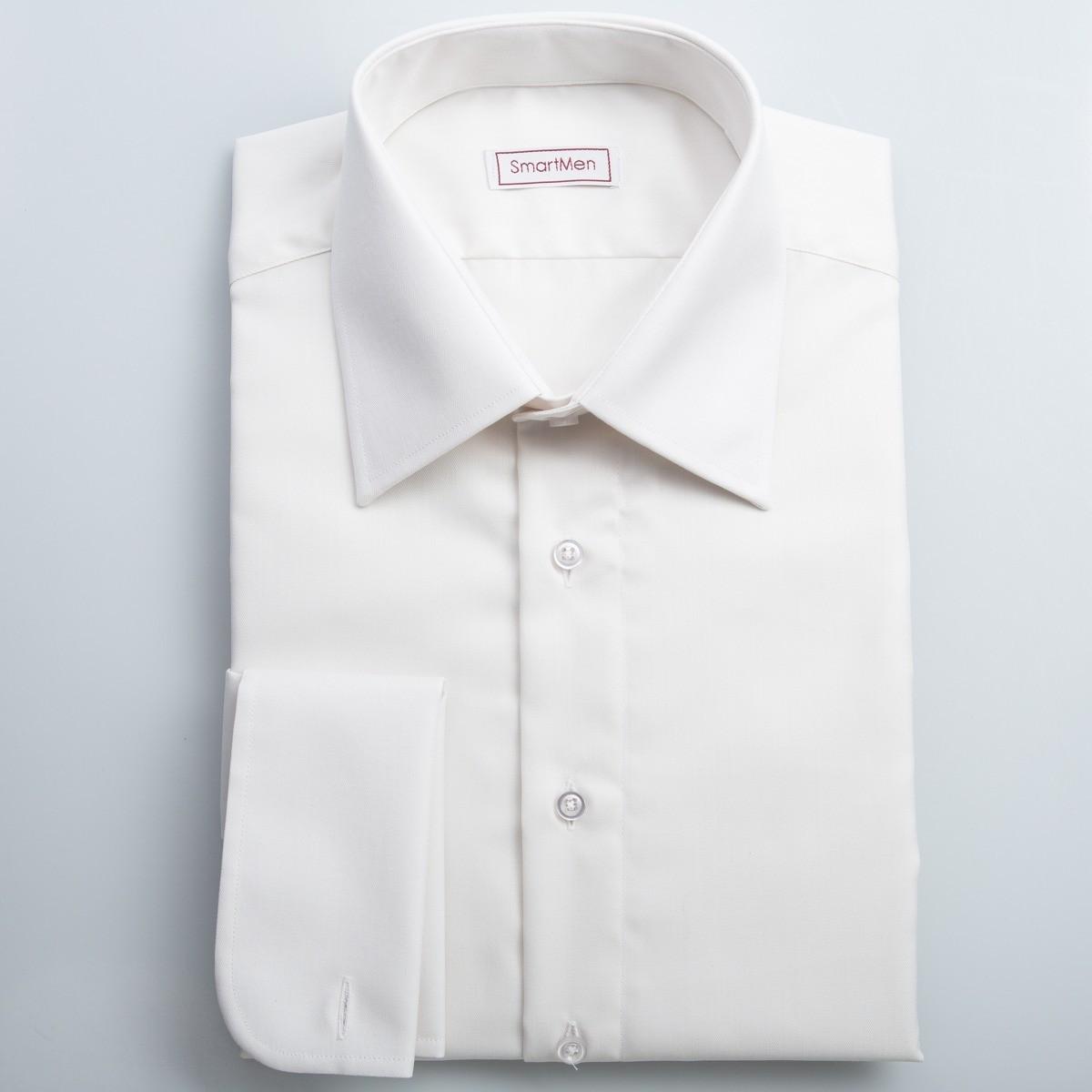 f97b146875e7 Svadobná manžetová košeľa smetanová SmartMen