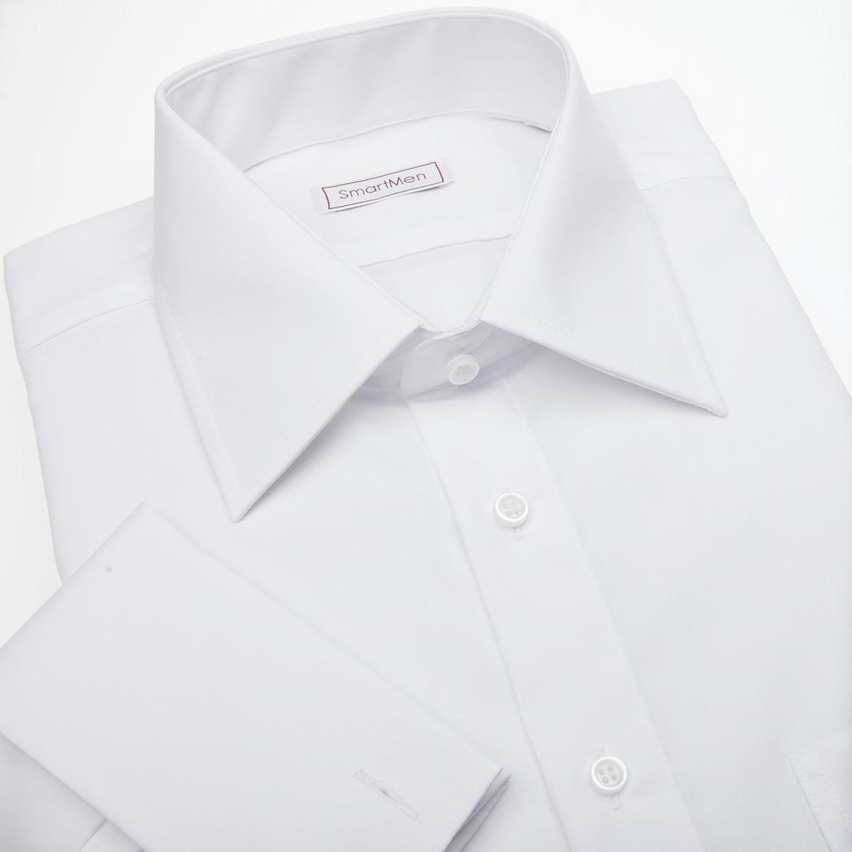 2b5cc2806cde Biela košeľa s manžetovými gombíkmi Non Iron - nežehlivá