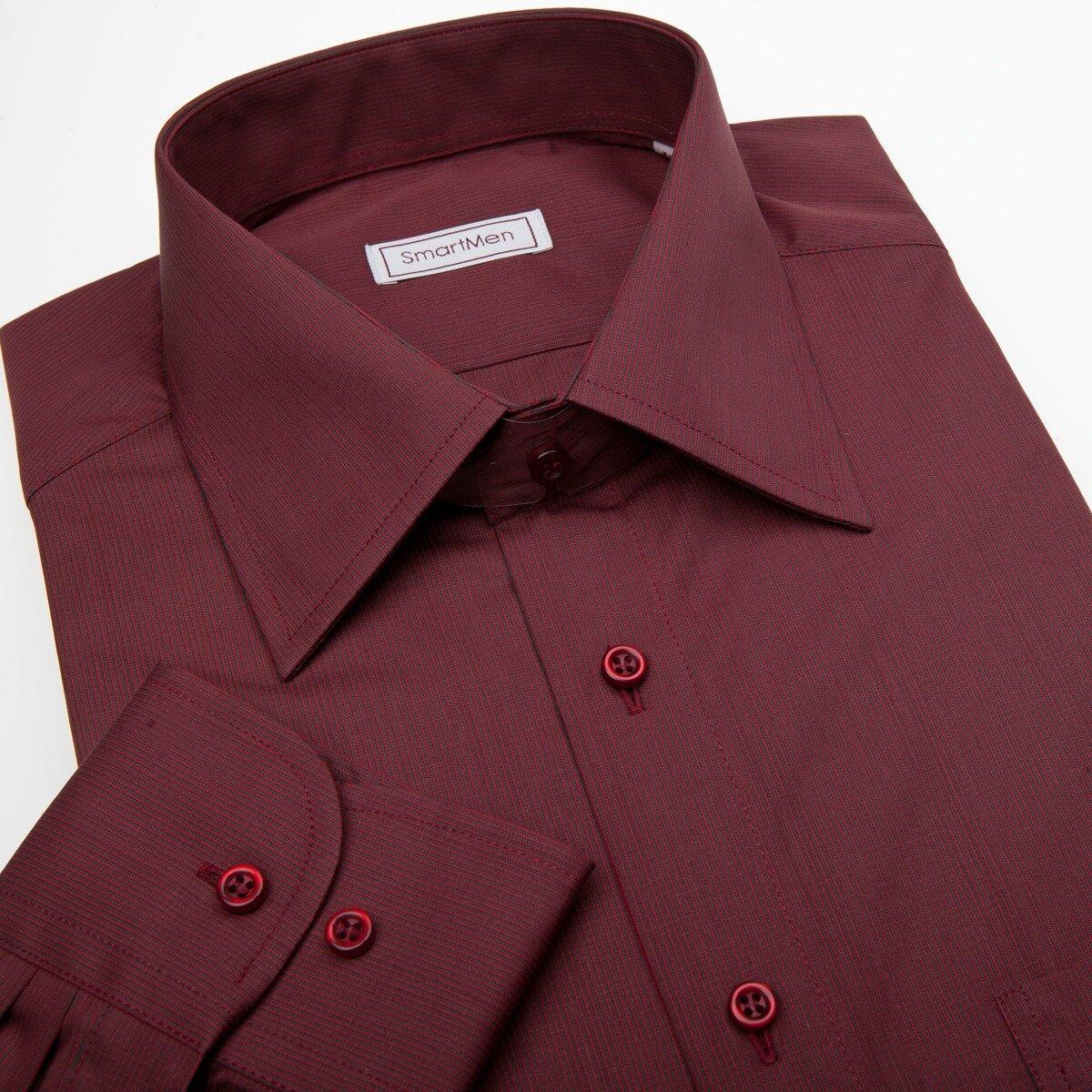 ee61ca6b46e1 Vínovo červená košeľa s dlhým rukávom s gombíkmi vo farbe