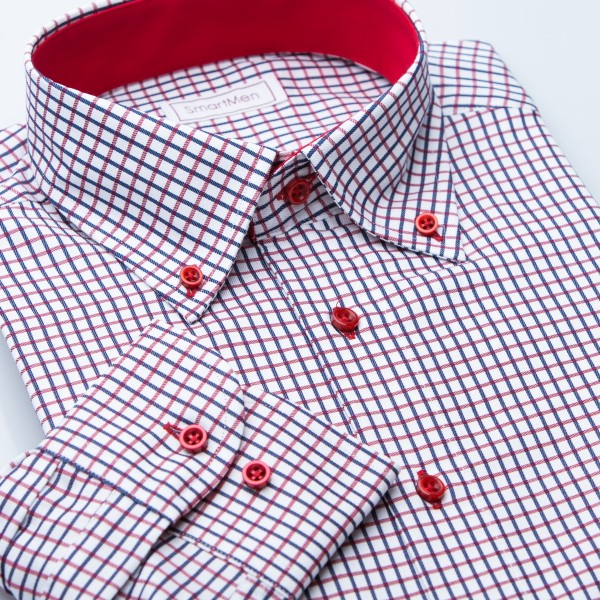 SmartMen Casual košeľa károvaná Button-down s kontrastom Slim fit