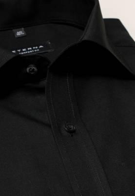 da529ab30bef ETERNA Comfort Fit čierna košeľa pánska dlhý rukáv Popelín s vreckom