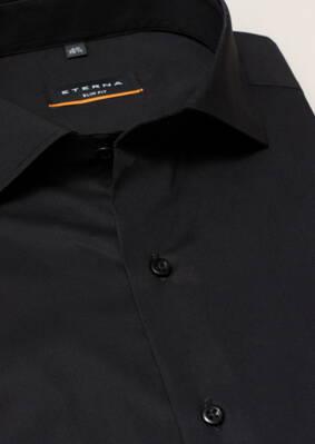 f2bbd656e2ff Čierna pánska košeľa ETERNA Slim Fit stretch nežehlivá úprava Business  golier