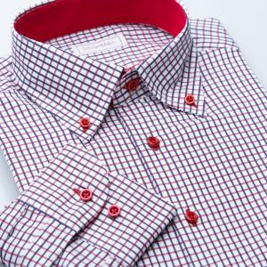 SmartMen Casual košeľa károvaná Button-down s kontrastom Regular fit