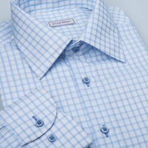 6b7dc97bb85e Business Casual pánska košeľa modrá kockovaná