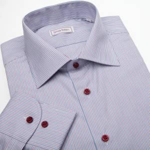 6235dea2c414 Pánska košeľa modrá s červenou linkou a červenými gombíkmi