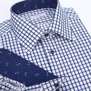 01a512fc2a15 Casual pánska košeľa modrá károvaná s delfínmi