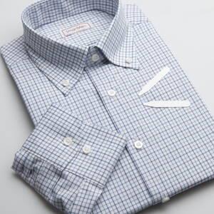 08d8eb3655c3 Pánska károvaná košeľa modrá - Button down Slim
